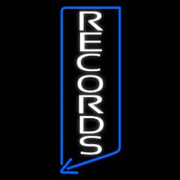 Vertical White Records Neon Sign