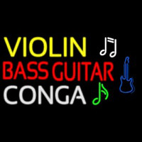 Violin Bass Guitar Conga 2 Neon Sign