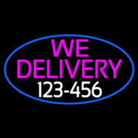 We Deliver Number Oval With Blue Border Neon Sign