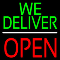 We Deliver Open Block White Line Neon Sign