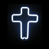 White Cross Desktop Neon Sign