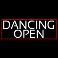 White Dancing Open With Red Border Neon Sign