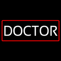 White Doctor Red Border Neon Sign
