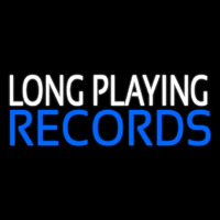 White Long Playing Blue Records Block 1 Neon Sign