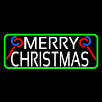 White Merry Christmas With Candy Stick Neon Sign
