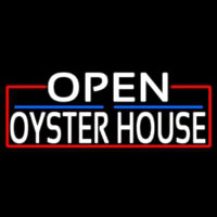 White Open Oyster House With Red Border Neon Sign