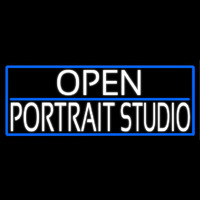 White Open Portrait Studio With Blue Border Neon Sign