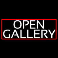 White Open With Gallery With Red Border Neon Sign