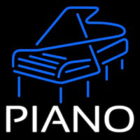 White Piano Blue Logo 4 Neon Sign
