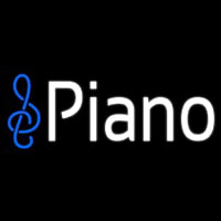 White Piano Music Note Neon Sign