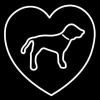 White Puppy Boys Heart Neon Sign