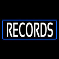 White Records With Blue Arrow 1 Neon Sign