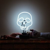 White Skull Tatoo Desktop Neon Sign