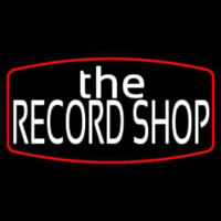 White The Record Shop Block Red Border Neon Sign