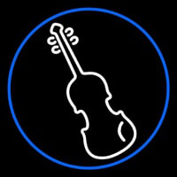 White Violin Blue Border Neon Sign