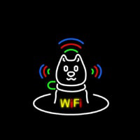Wifi With Dog Logo Neon Sign