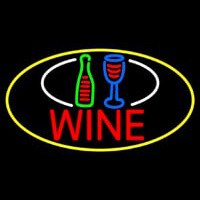 Wine Bottle Glass Oval With Yellow Border Neon Sign