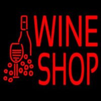 Wine Shop With Bottle And Glass Neon Sign