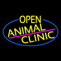 Yellow Animal Clinic Oval With Blue Border Neon Sign