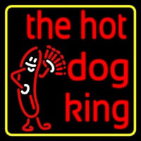 Yellow Border Red The Hot Dog King Neon Sign