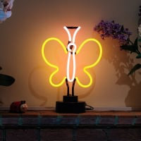 Yellow Butterfly Desktop Neon Sign