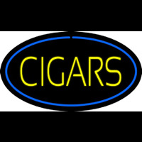 Yellow Cigars Blue Oval Neon Sign