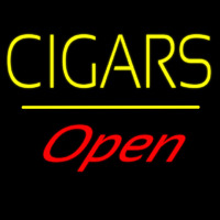 Yellow Cigars Open Line Neon Sign