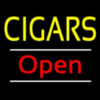 Yellow Cigars Open White Line Neon Sign