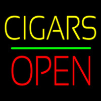 Yellow Cigars Red Block Open Green Line Neon Sign