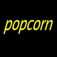 Yellow Cursive Popcorn Neon Sign