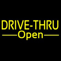 Yellow Drive Thru Open Neon Sign