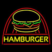 Yellow Hamburger With Logo Neon Sign