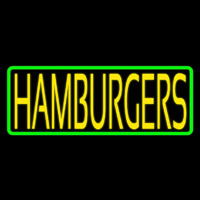 Yellow Humburgers Block Green Border Neon Sign