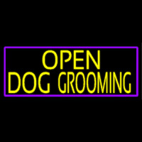 Yellow Open Dog Grooming With Purple Border Neon Sign