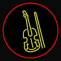 Yellow Violin Logo Red Border Neon Sign