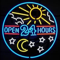 open 24 hours sun moon day BEER BAR PUB Neon Sign